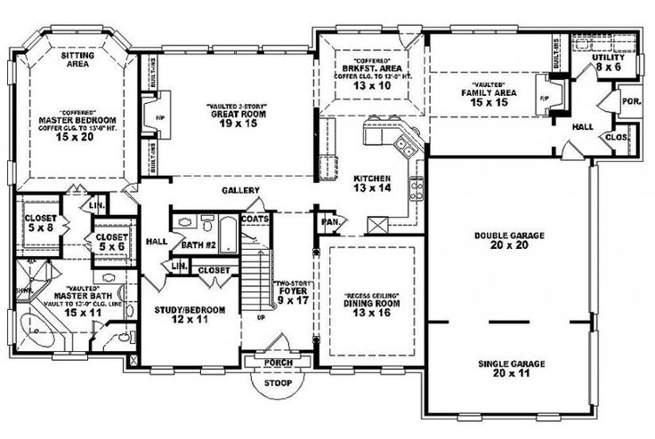 6 Bedroom Single Family House Plans