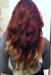 brown red blond hair dip dye