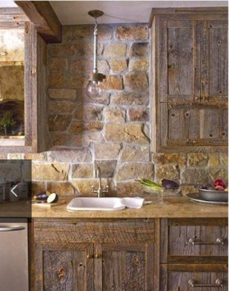 rustic kitchen with stone backsplash 25+ best ideas about Stone Backsplash on Pinterest