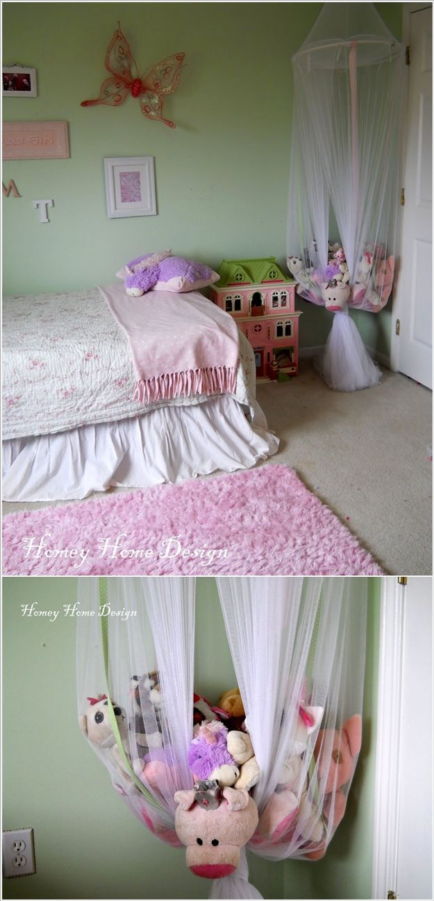Hanging Homemade Toy Storage Ideas for Girls by DIY Ready at  www.diyready.com/…