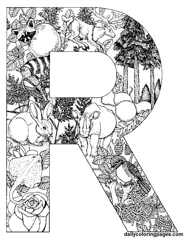 R letter filled with R words http://dailycoloringpages.com