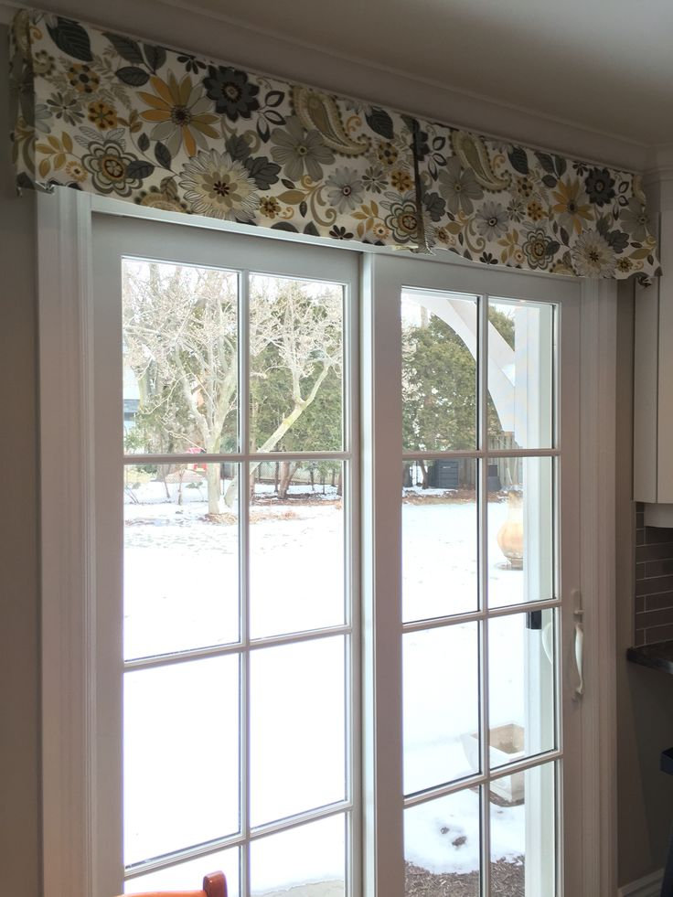 Patio Door window treatment. Using a simple decorative box