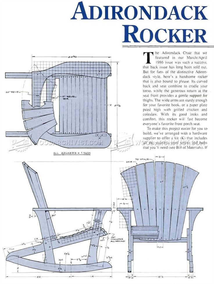 1860 Adirondack Rocking Chair Plans  Outdoor Furniture