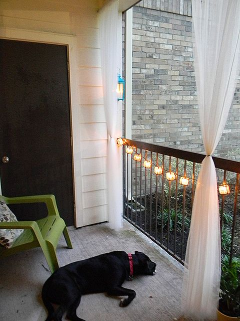 great balcony decorations love the lights and curtains i would just hang the lights