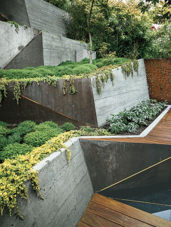 modern landscaping terrace concrete