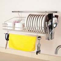 304 stainless steel dish rack wall rack wall-mounted bowl ...