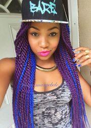 box braids extensions bright colours