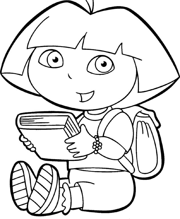 Surprised Dora The Explorer Coloring Page