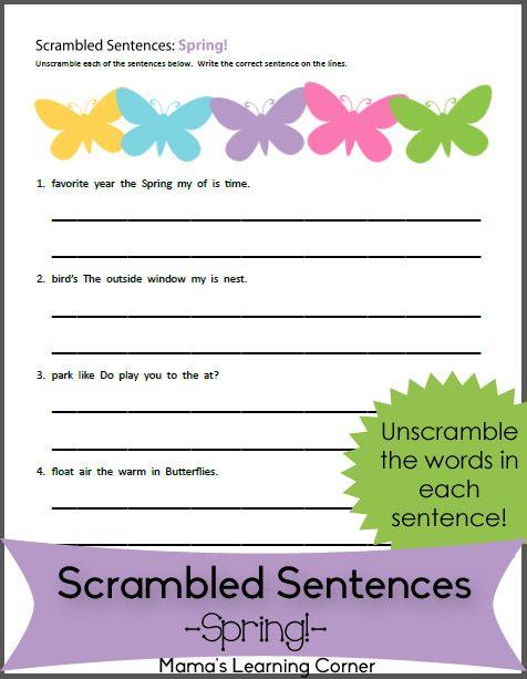 Spring  Scrambled Sentences Worksheet  Primavera