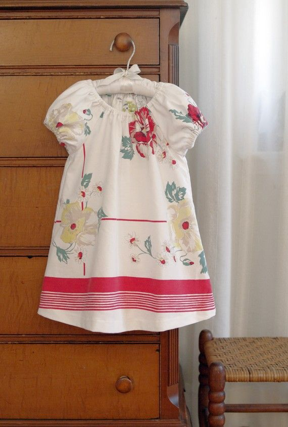 Little Girls Floral Dress 2T Vintage Recycled Red Amp White Floral Tablecloth Ecofriendly