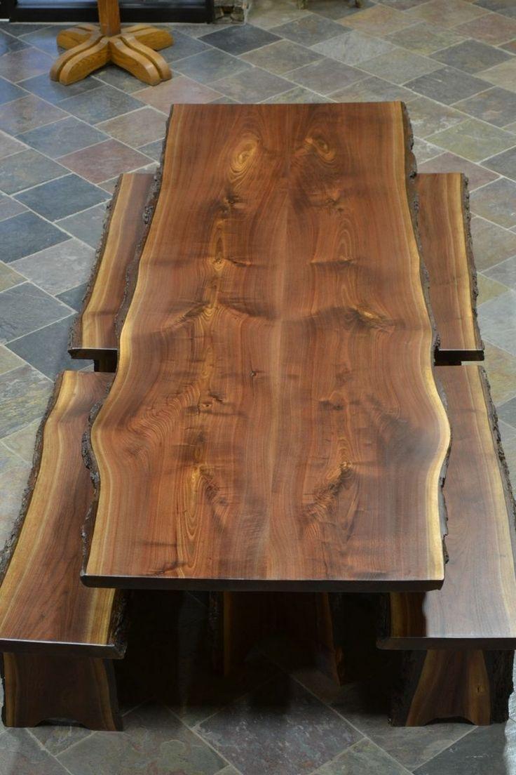 Custom Made Live Edge Walnut Slab Dining Table Beth