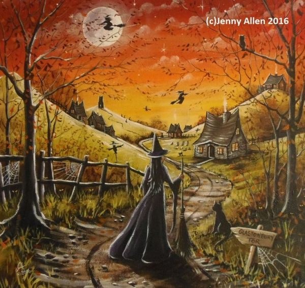 OOAK Original Halloween Painting Acrylic on Canvas Witch