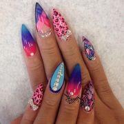 bright and colotful stiletto nails