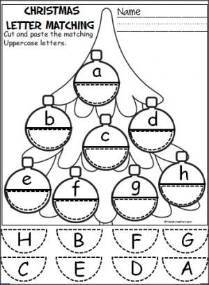 Free Christmas ornament alphabet activity. Students cut