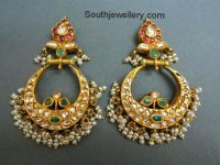 22 carat gold chand bali earrings studded with rubies