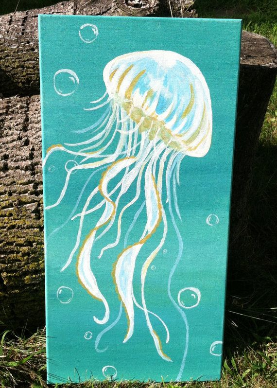 Jellyfish Painting acrylic on canvas 12x24 by HomePerfection 6000  Art  Pinterest  The