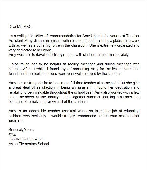 RecommendationLetterforTeacherAssistant  miscellaneous  Pinterest  Letter for teacher