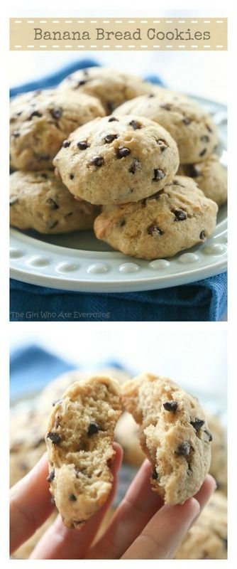 Banana Bread Cookies: Super moist cake-like browned butter cookies that taste just like banana bread in cookie form. {The Girl Who