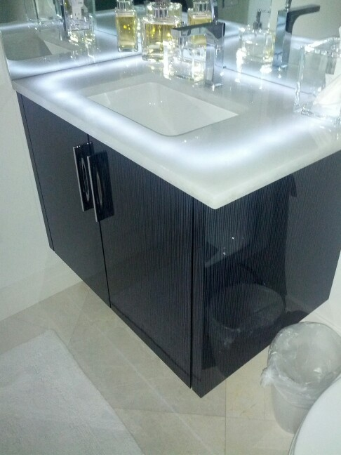 Naples condo lighted vanity Glass counter top LED