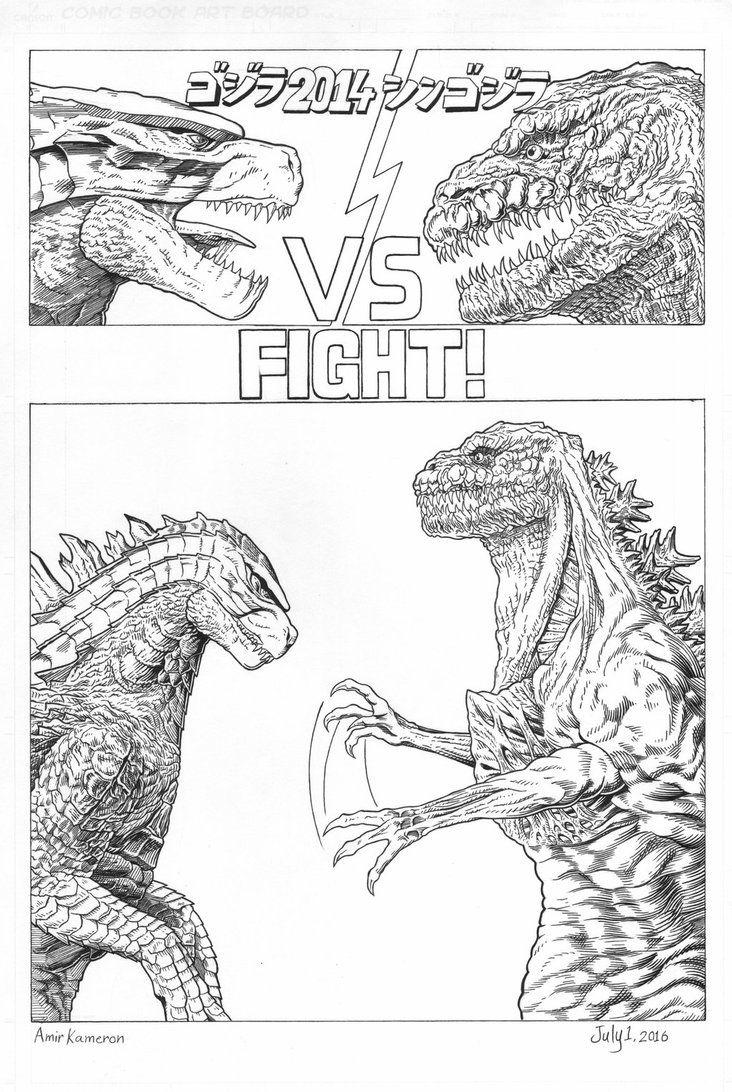 Godzilla 2014 vs Shin Godzilla Mini comic by AmirKameron