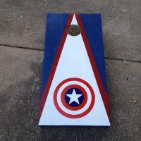 Captain America cornhole board.   The fun stuff ...