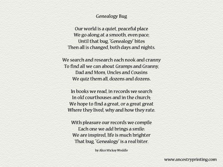 The Genealogy Bug And Other Poems On This Site