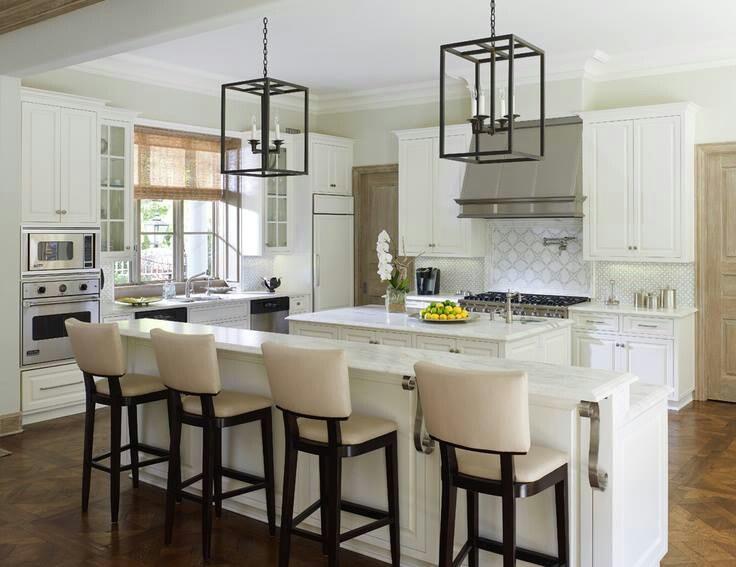 White kitchen high chairs long kitchen island