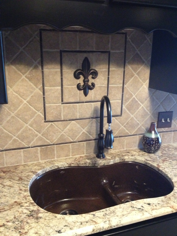 Fleur De Lis Backsplash I Got The Fdl From Hobby Lobby And Painted It To Match The Bronze