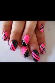 pretty pink and black nail art