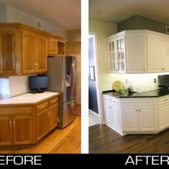 Refinish Kitchen Countertop Appliances On Sale Cabinet, Before And After Refacing Oak ...