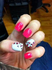 Leopard and hot pink acrylic nails | All About Nails ...