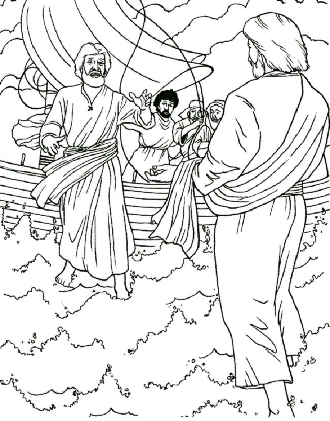 jesus walks on water coloring pages for kids  coloring
