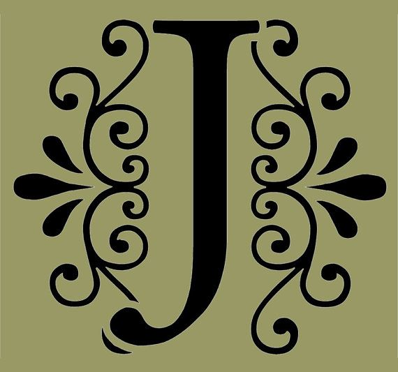 STENCIL Decorative Letter J 10x9 by ArtisticStencils on
