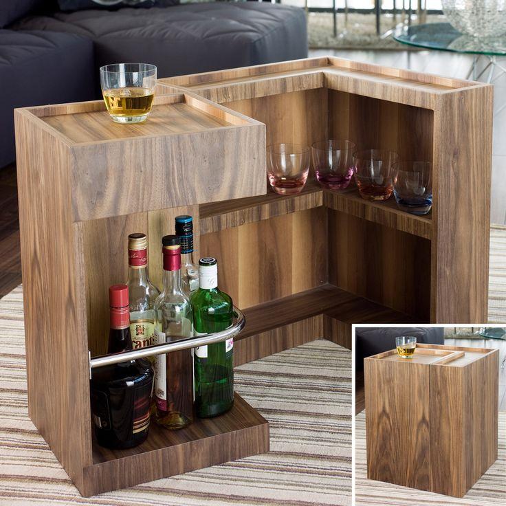 Mini bar side table walnut 249  home  Pinterest  Mini bars Bar and Side tables