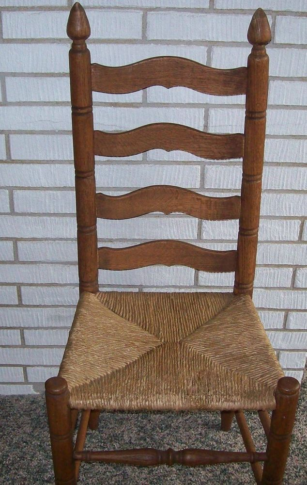 Vintage Ladder Back Chair with Rush Seat Antique