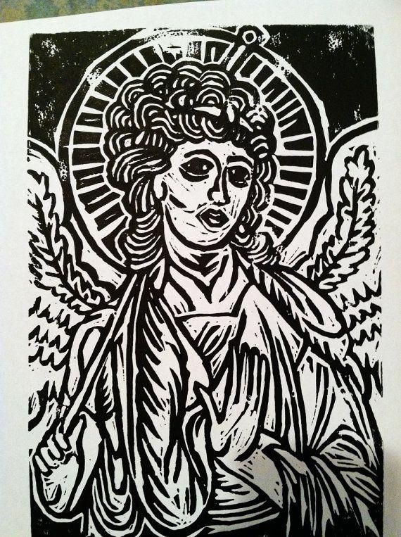 Medieval Angel Saint Linocut Print Lino Cuts Pinterest
