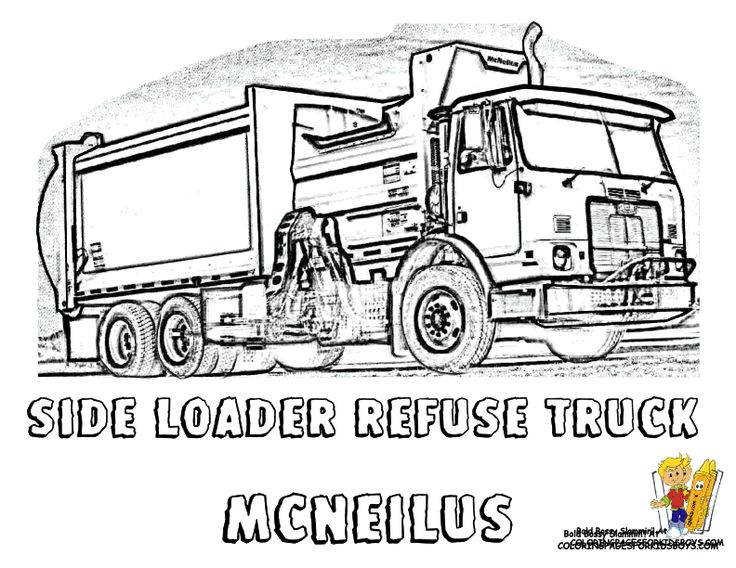 Grimy Garbage Truck Coloring! Side Loaders! http://www