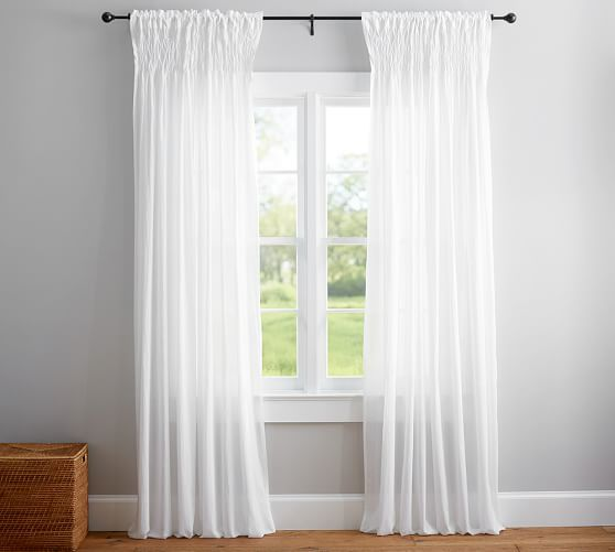 Organic Cotton Smocked Voile Curtain Paired With A Clear Shower Curtain Liner Machine Washable