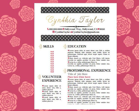 Gold Pink Black Resume Girly Resume Pinterest By
