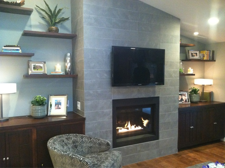 living room wall ideas with tv images of rooms dark brown sofas love the built ins on either side - photo from a ...