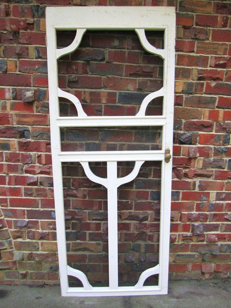 Vintage Ornate Hardwood Timber fly wire Screen Door