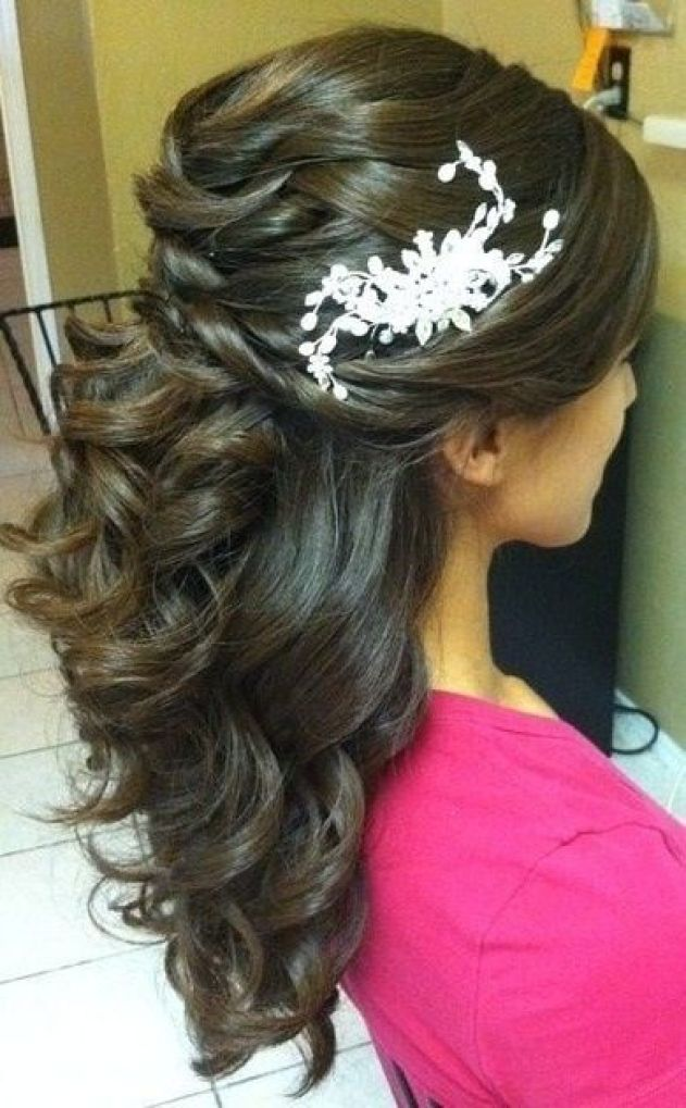 Wedding hair style for long hair with half up and half: