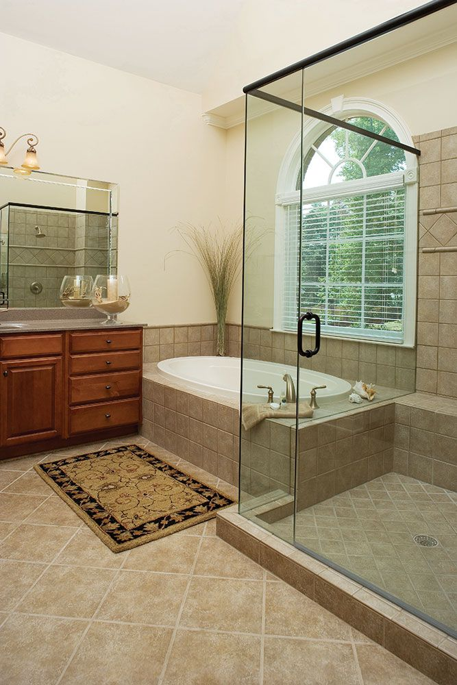 Master bath of the Hartford Plan 1048 wwwdongardnercom  This luxurious master bath features a