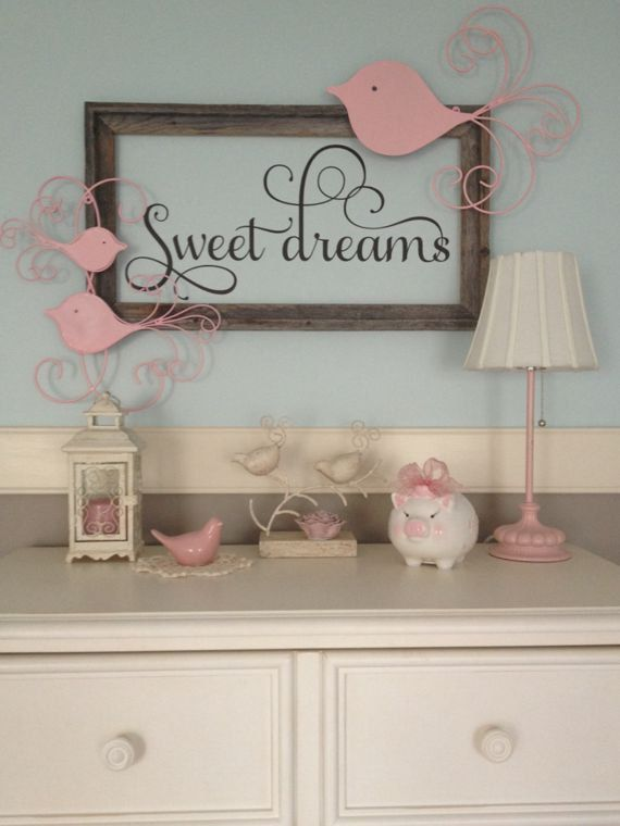 Modern Nursery Wallpaper Girl Sweet Dreams Nursery Vinyl Wall Decal By Thedecalgirl On
