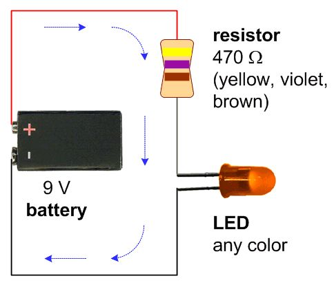 Basic Electrical Wiring Diagram Maker A Schematic With A 9v Battery 470 Ohm Resistor And A