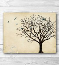 Tree Wall Art, Winter Tree Silhouette, Vintage Inspired ...