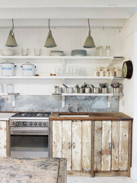 open rustic kitchen cabinets Rustic & beachy industrial kitchen / dining | The White