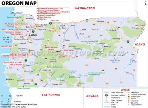 Oregon map showing the major travel attractions including