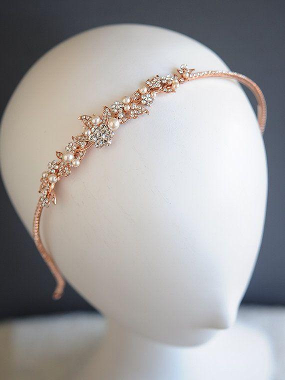 Rose Gold Wedding Headband Vintage Style Crystal Flower