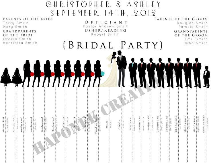 Fun Wedding Program: Wedding Party Silhouette Template